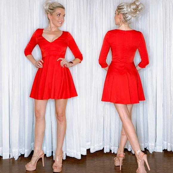 Lulu's Dresses & Skirts - Red Long Sleeve Skater Skirt Dress Lulus